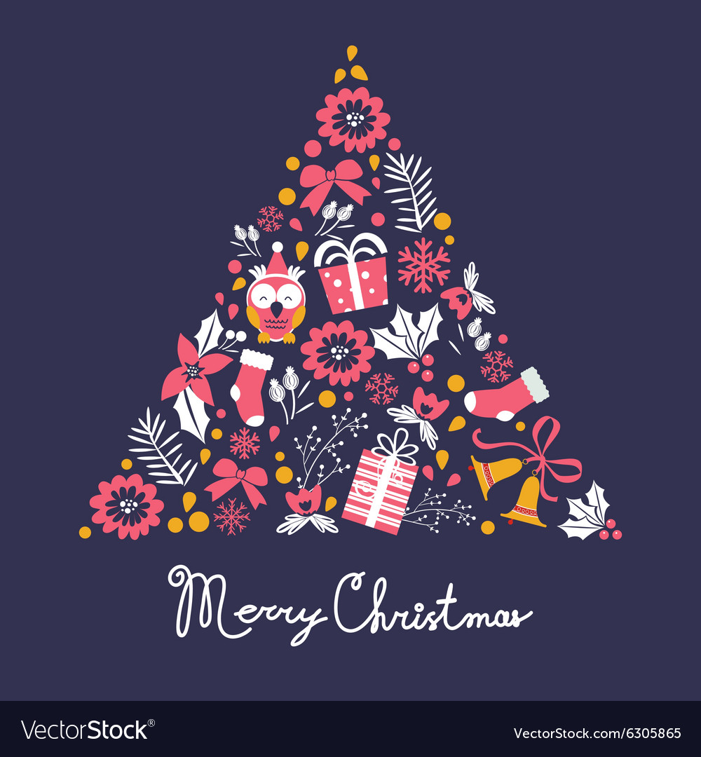 Colorful Christmas Tree Vector.Colorful Merry Christmas Tree Shape With Holiday