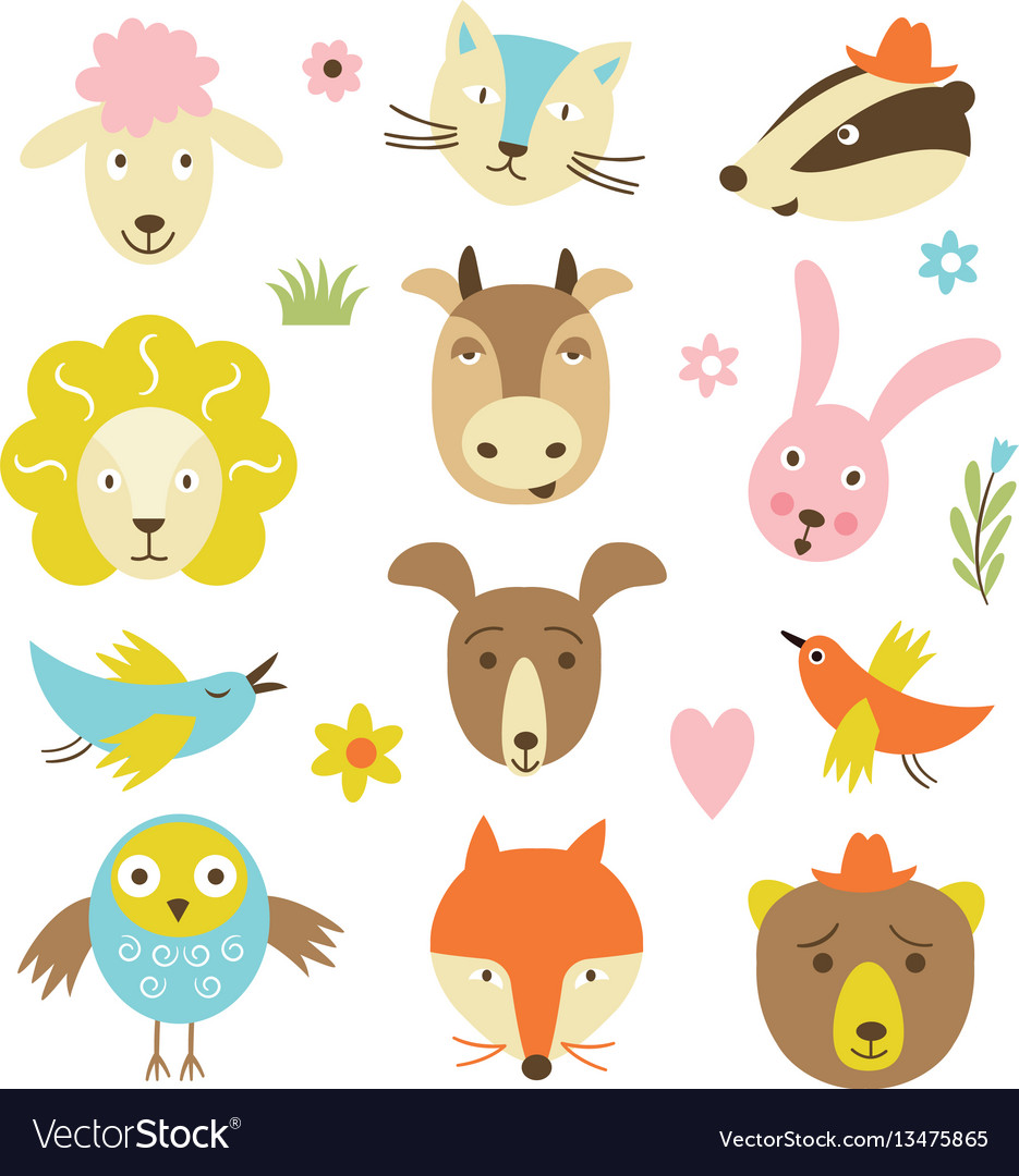 Cute cartoon animals set vector image