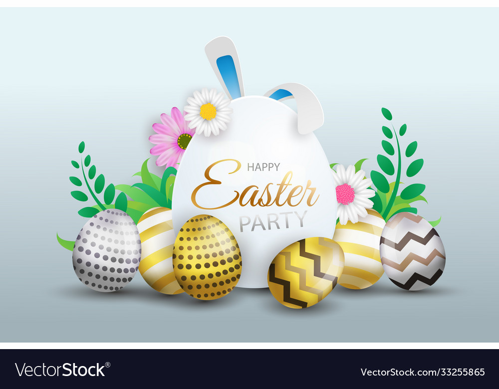 Happy Easter Day Background With Lovely Elements Vector Image
