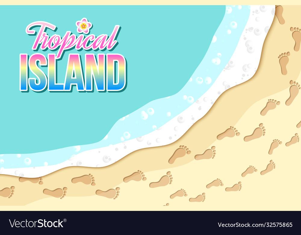Top view tropical island seashore with sea