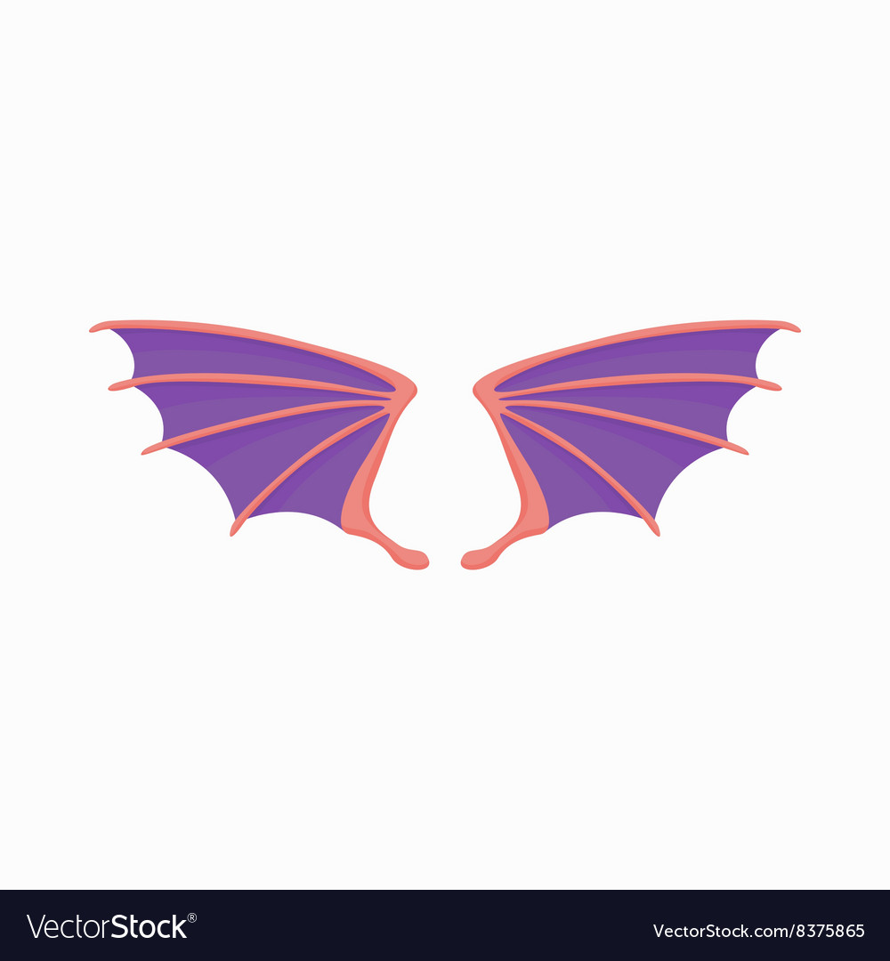 Violet dragon wings icon cartoon style