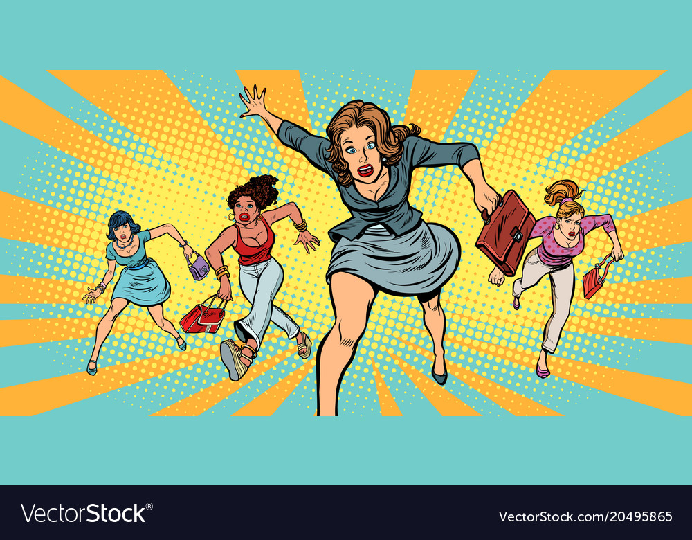 Women running in panic for sale Royalty