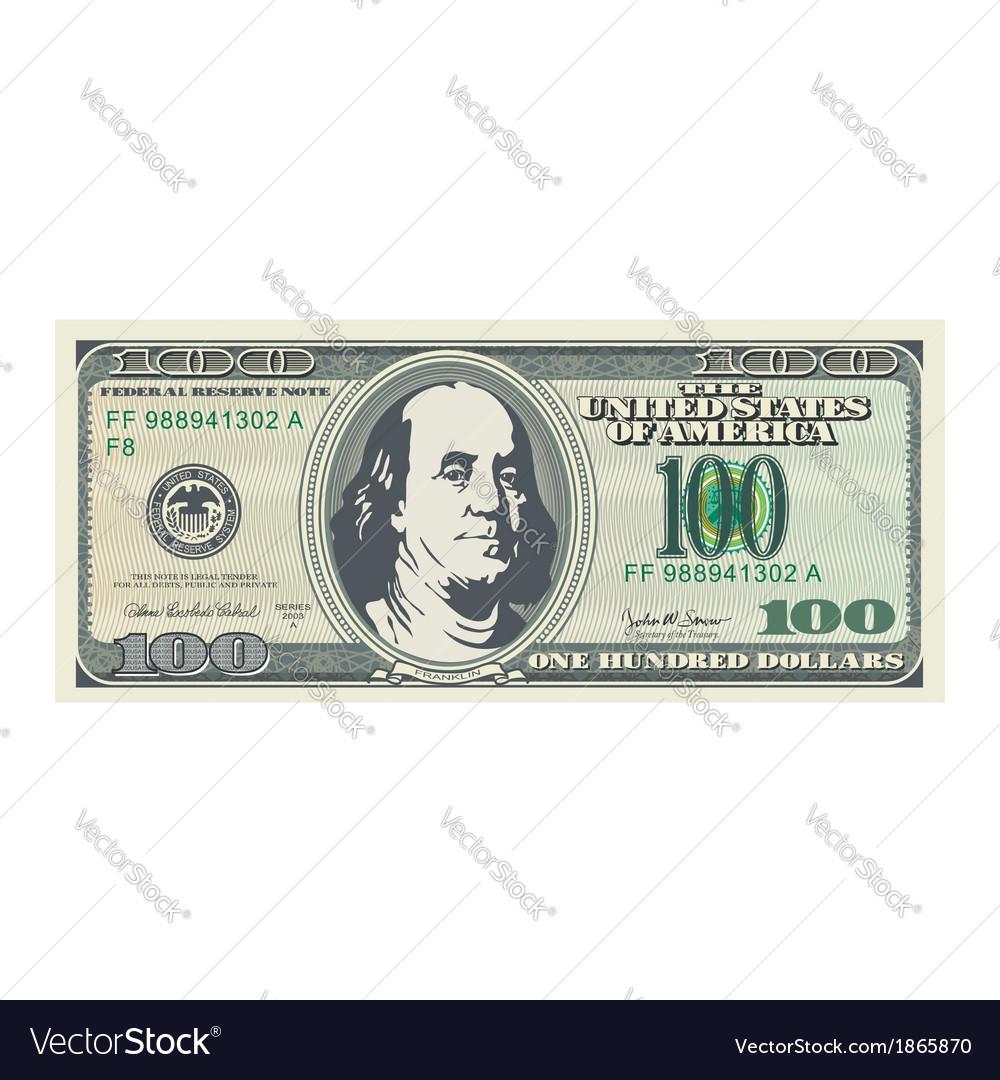 100 dollar bill vector image