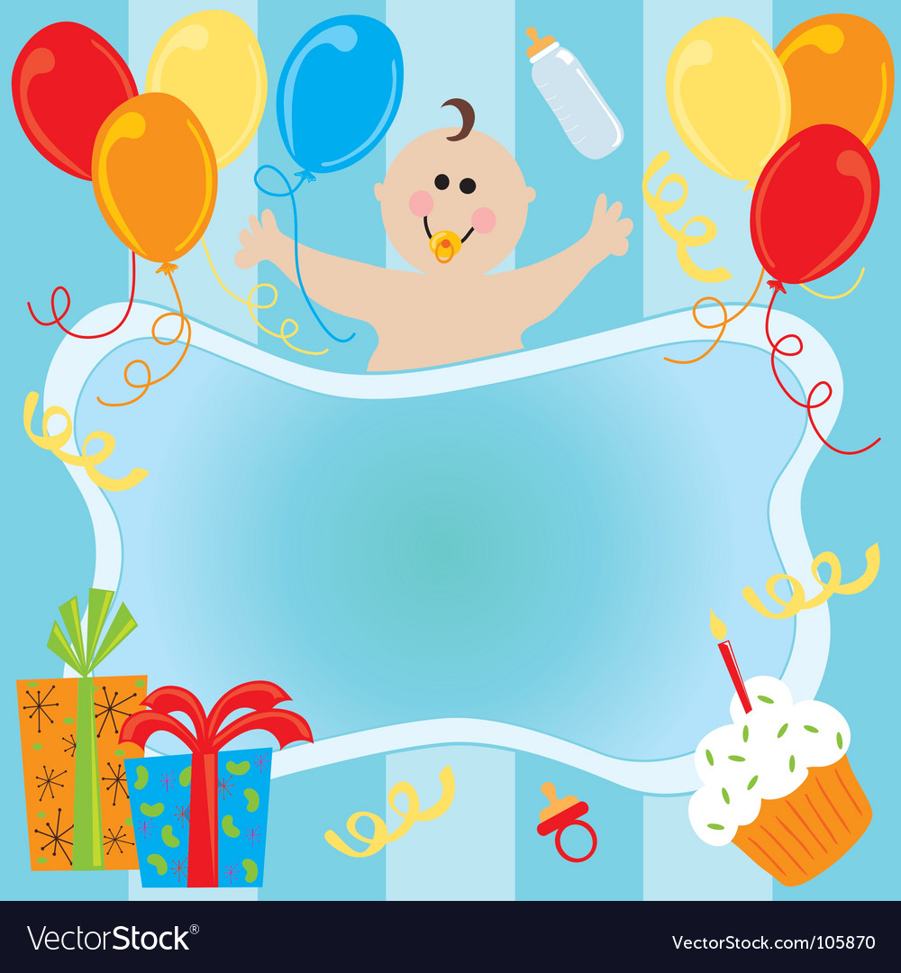 baby boy birthday invitation royalty free vector image