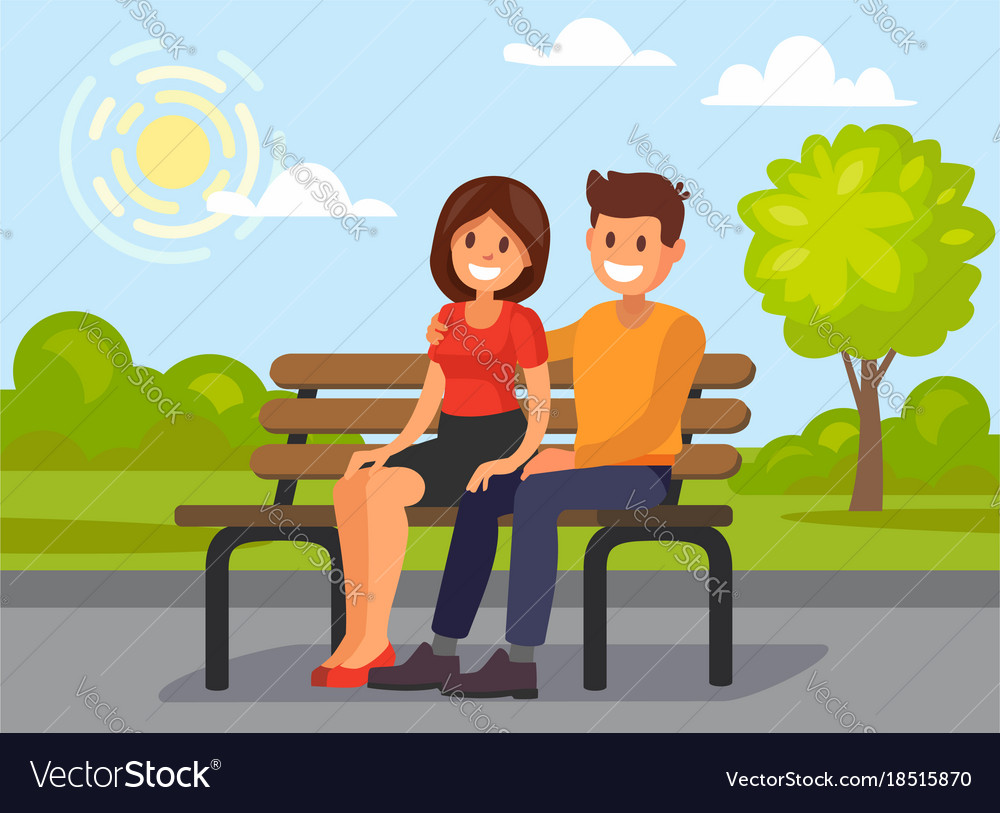 Couple outdoors in park sitting