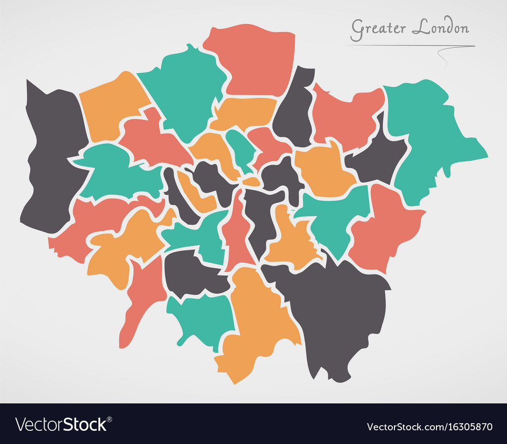 London In England Map.Greater London England Map With States And Modern