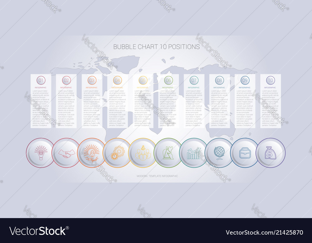Infographics Color Bubble Chart Template For 10 Vector Image