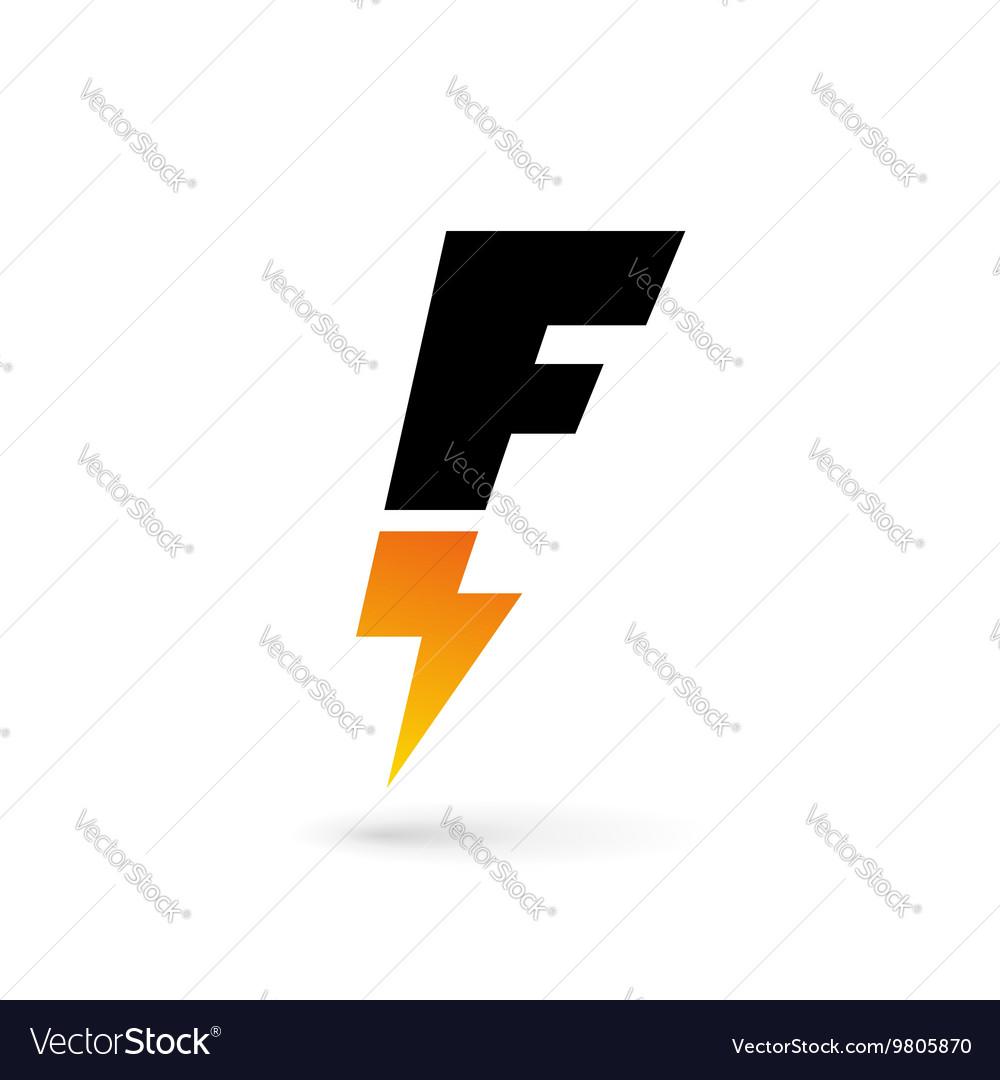 letter f lightning logo icon design template vector image