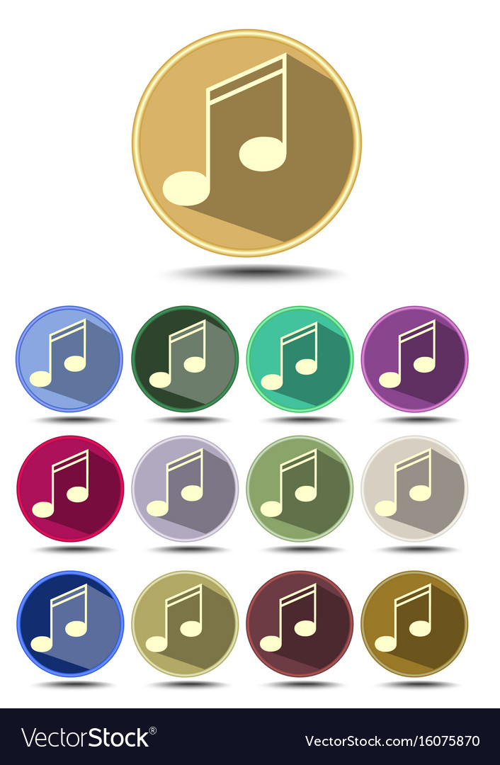 Music icon set note symbol in flat design with