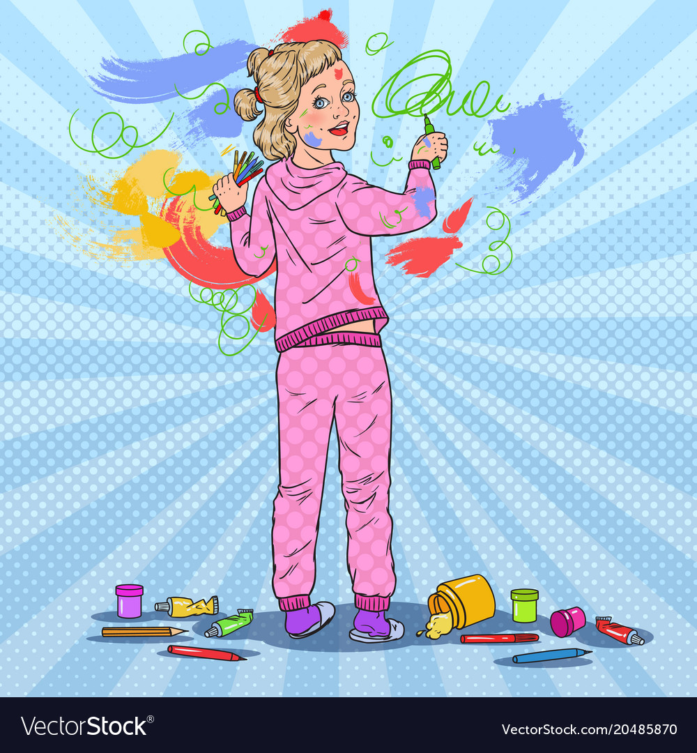 Pop Art Little Girl Painting On The Wall Vector Image