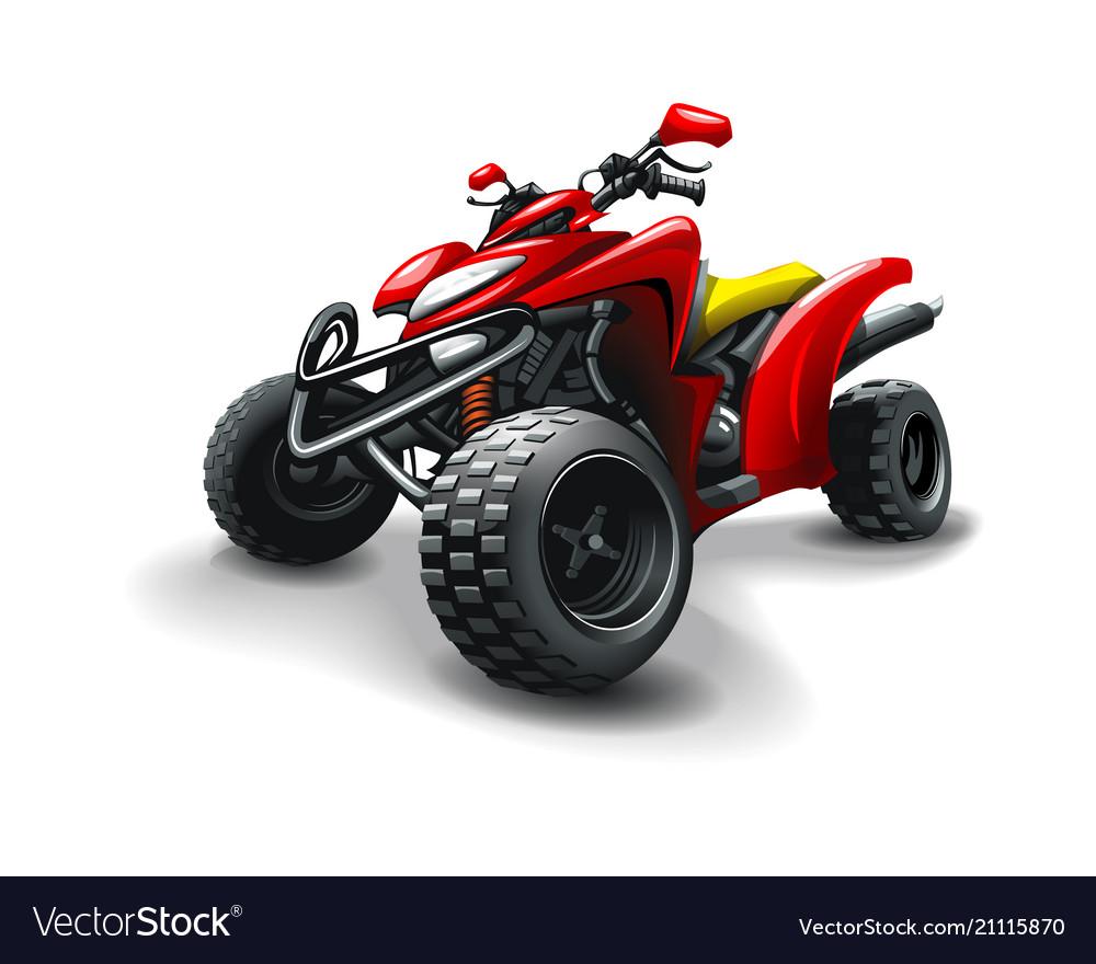 Red quad bike on white background