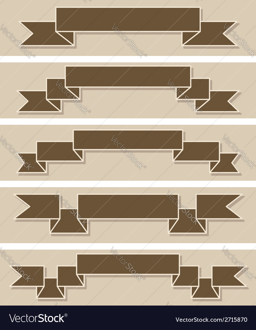 Set of retro ribbons Flat design