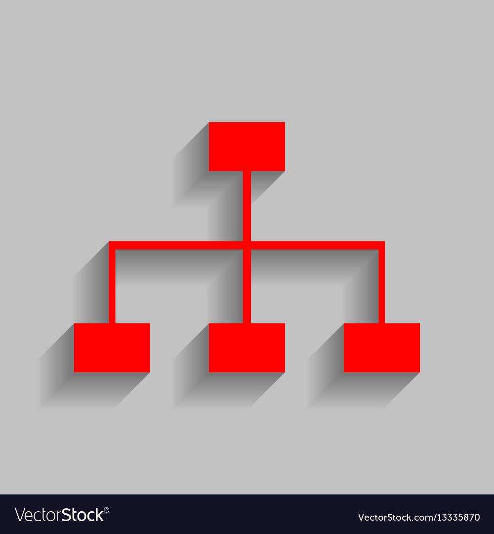 Site map sign red icon with soft shadow