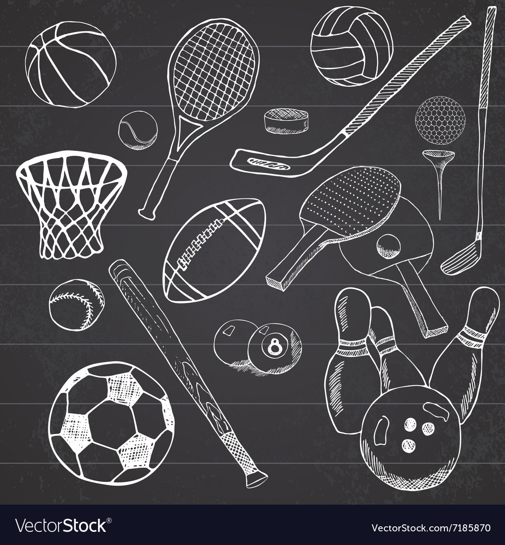 Sport balls Hand drawn sketch set with baseball vector image