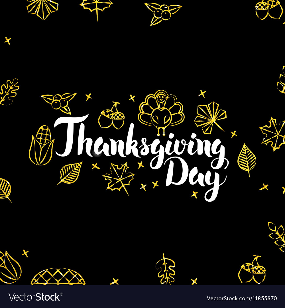 Thanksgiving Day Gold Black Postcard