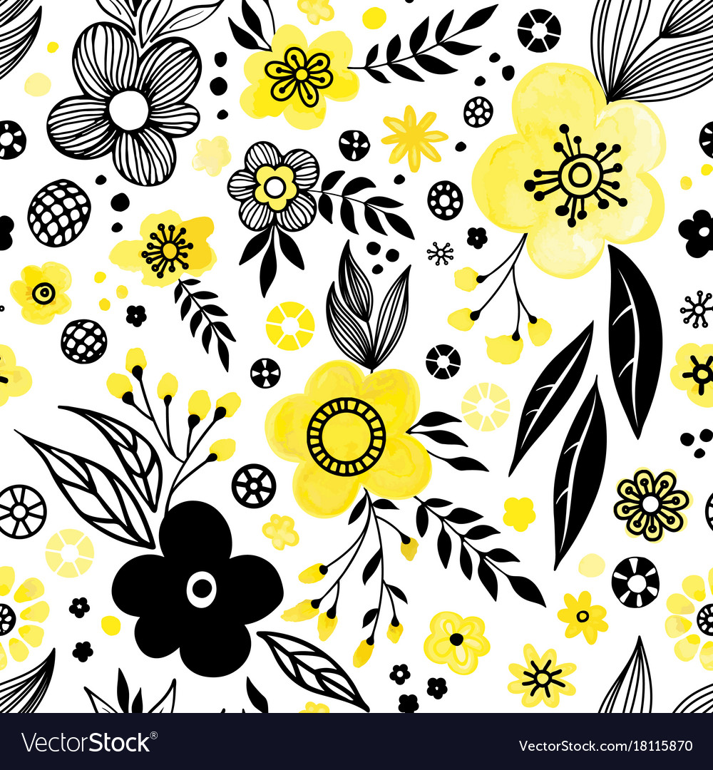Yellow Floral Pattern Royalty Free Vector Image