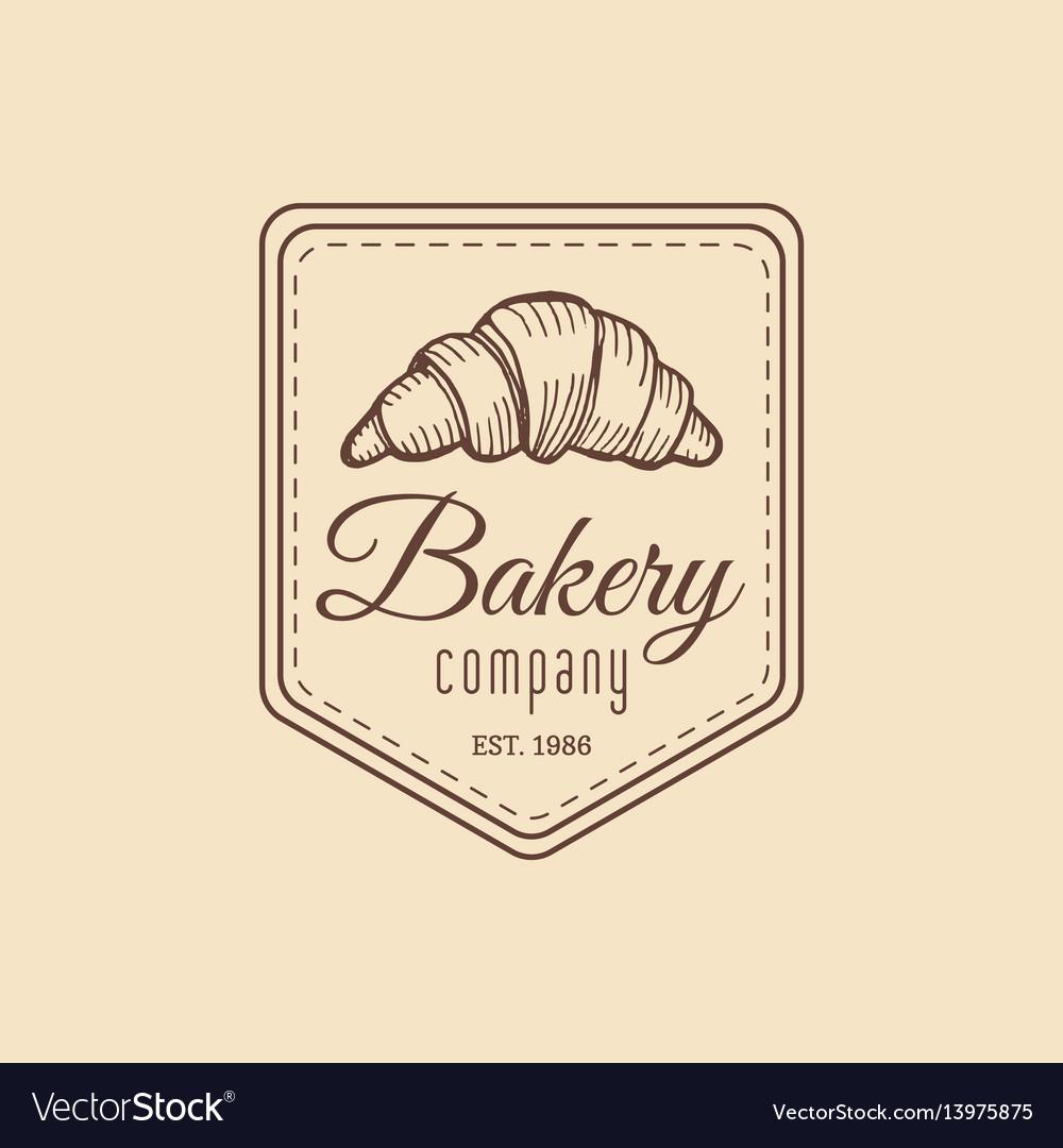 Croissant logo vintage bakery iconretro emblem