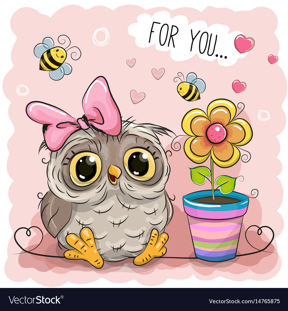 Cute cartoon owl with flower Royalty Free Vector Image