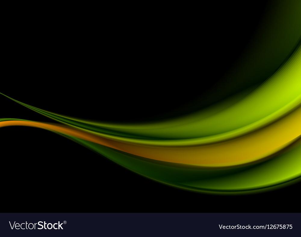 Green and orange waves on black background vector image