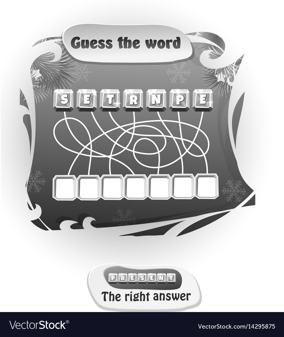 Guess the word present black and white vector image
