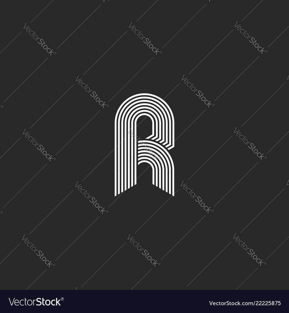 Hipster white letter r monogram linear or icon on