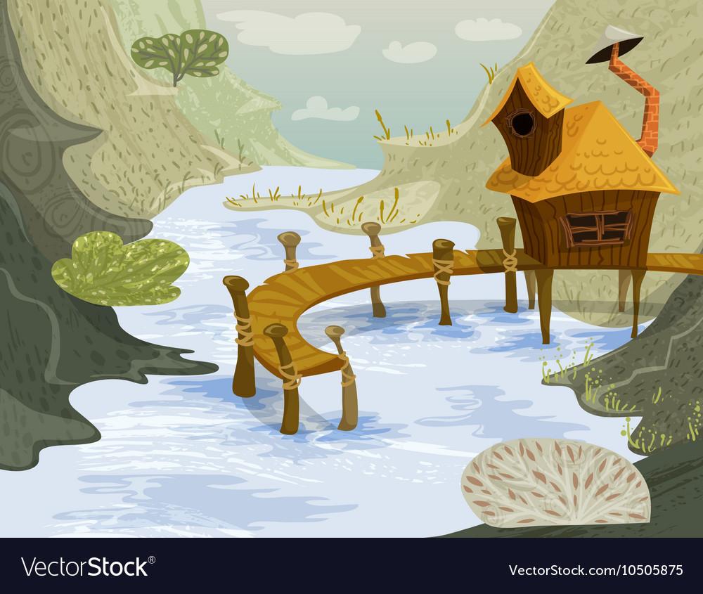 House on the river summer landscape vector image