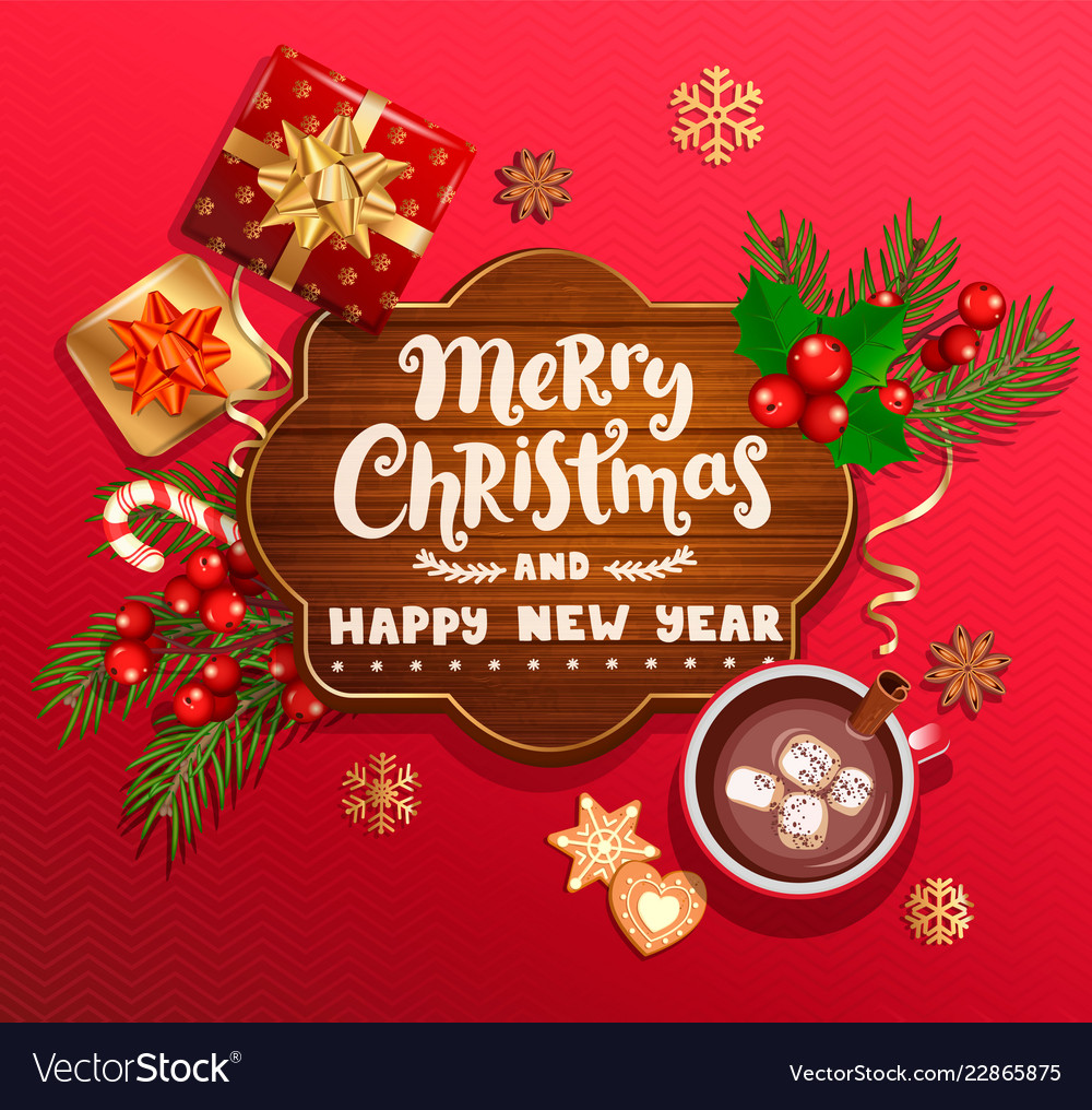 merry christmas and new year wishing card vector image vectorstock