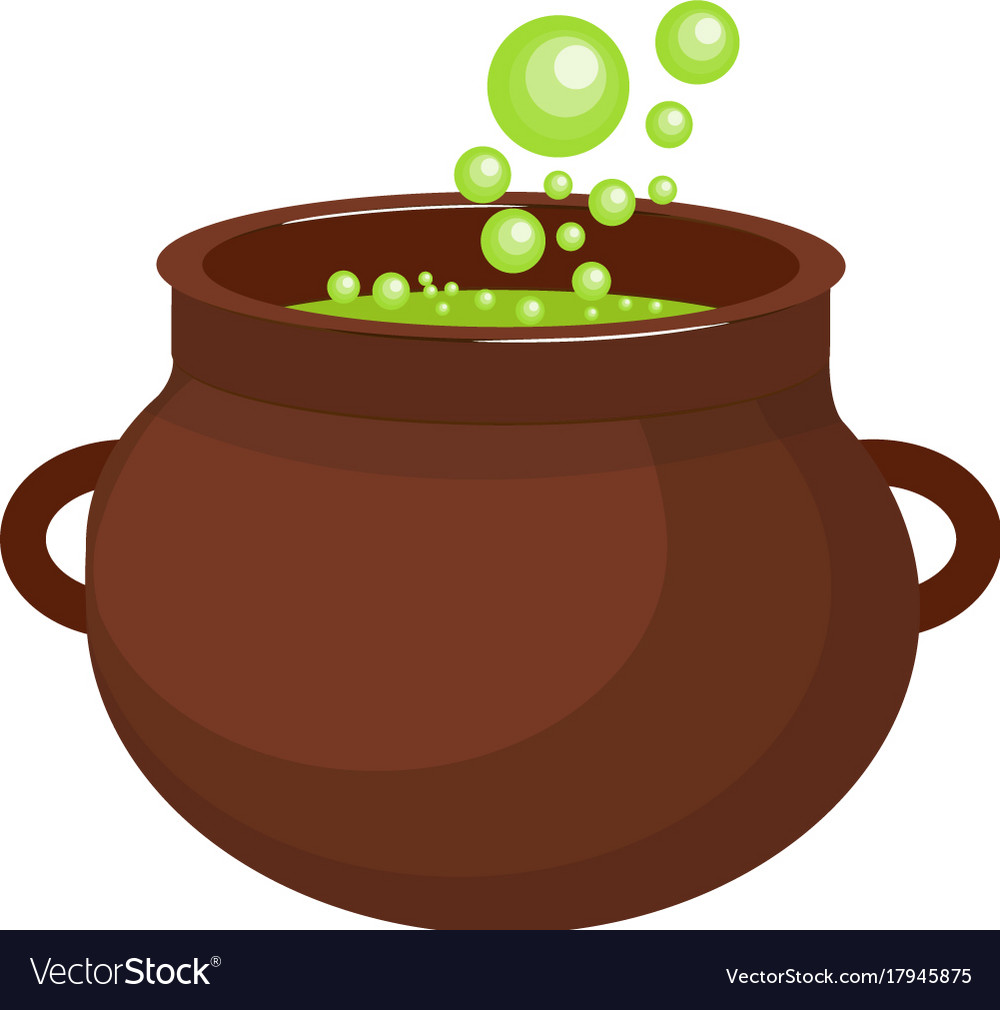 Pot with a potion icon flat style isolated on