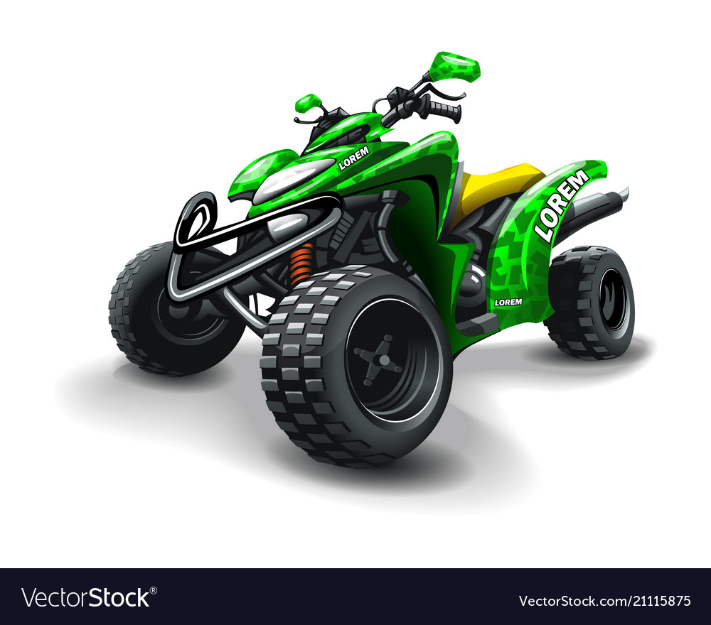 Quad bike with camouflage stains on white