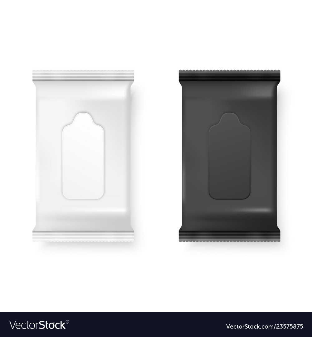 Realistic 3d white and black wet wipes