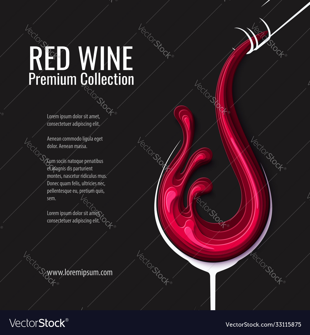 Red wine splash in glass with bottle