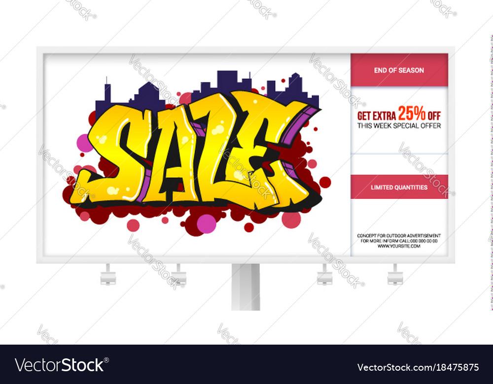 Sale ad banner on the billboard graffiti style vector image