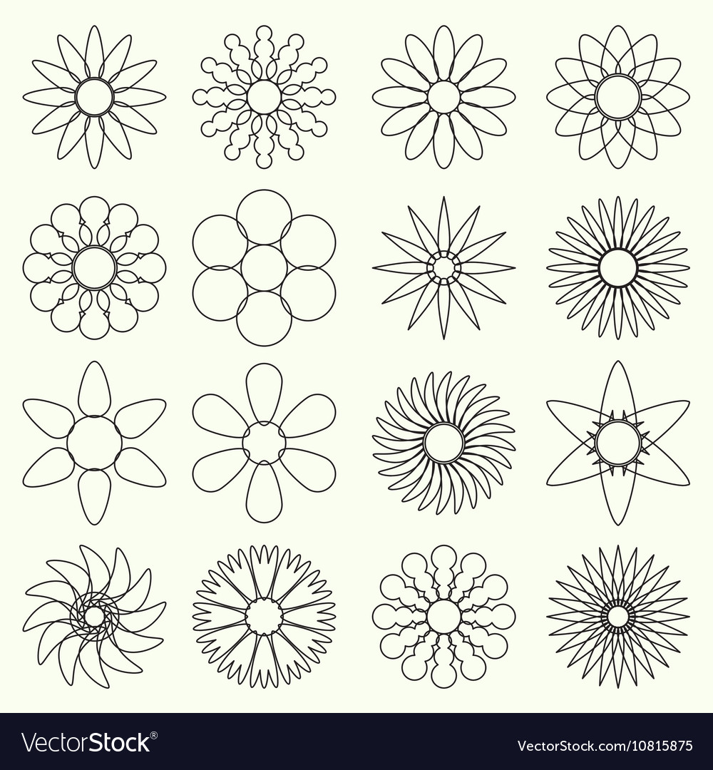 simple retro small flowers set of outline symbol vector image