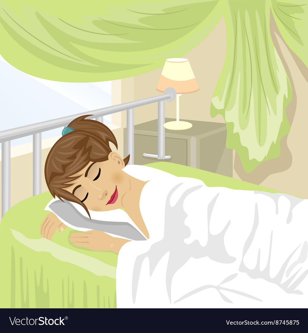 Teenager girl sleeps at bedroom with green curtain