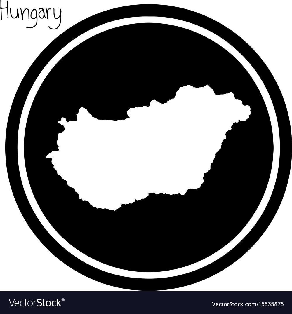 White map of hungary on black circle