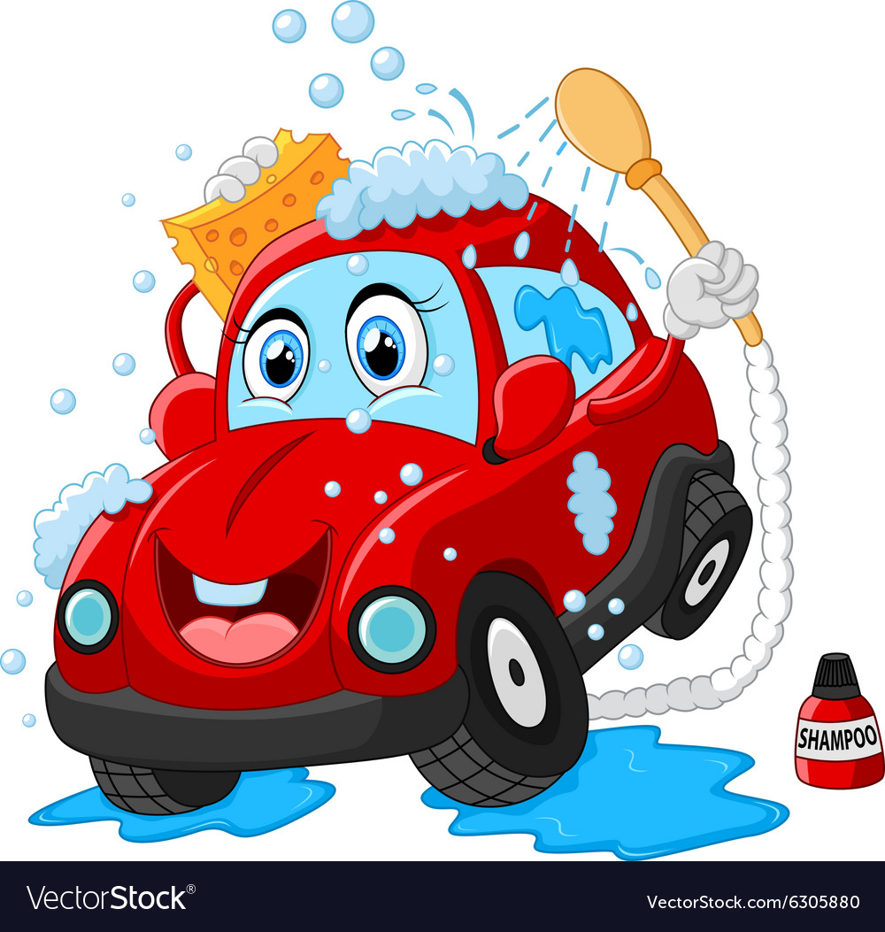 cartoon car wash character royalty free vector image rh vectorstock com car wash cartoons youtube car wash cartoon videos