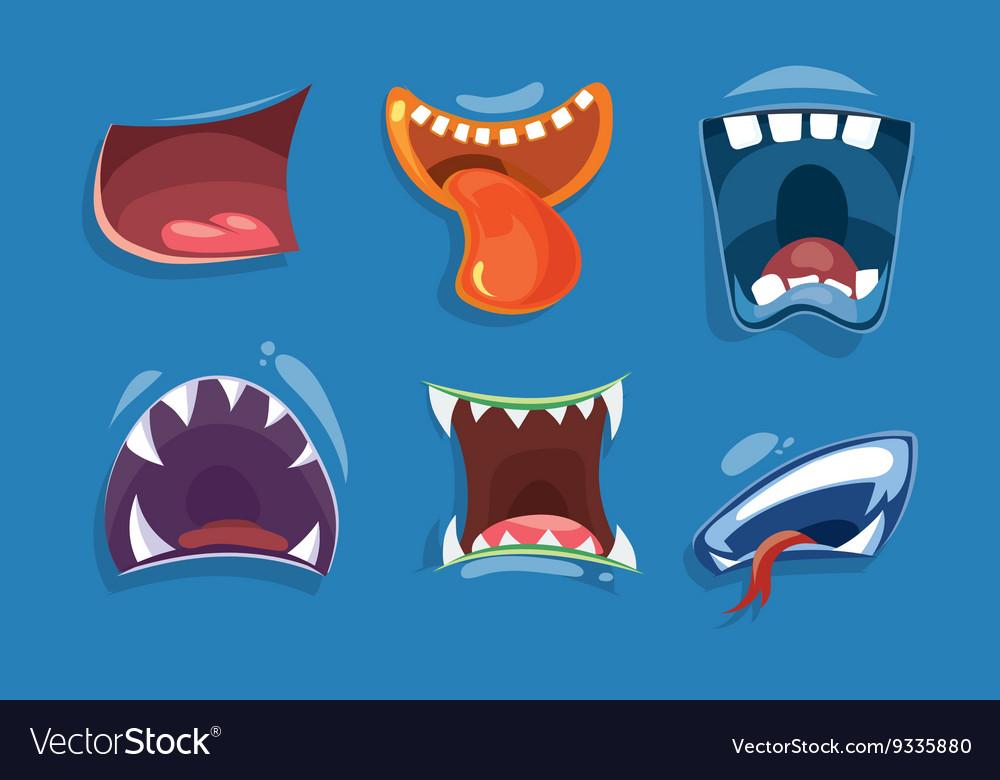 Cute monster mouths set