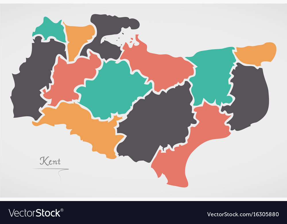 Kent Map Of England.Kent England Map With States And Modern Round