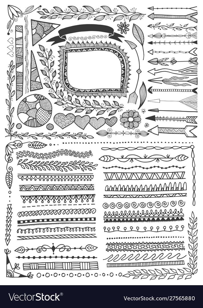 Set doodle floral hand drawn border and frame