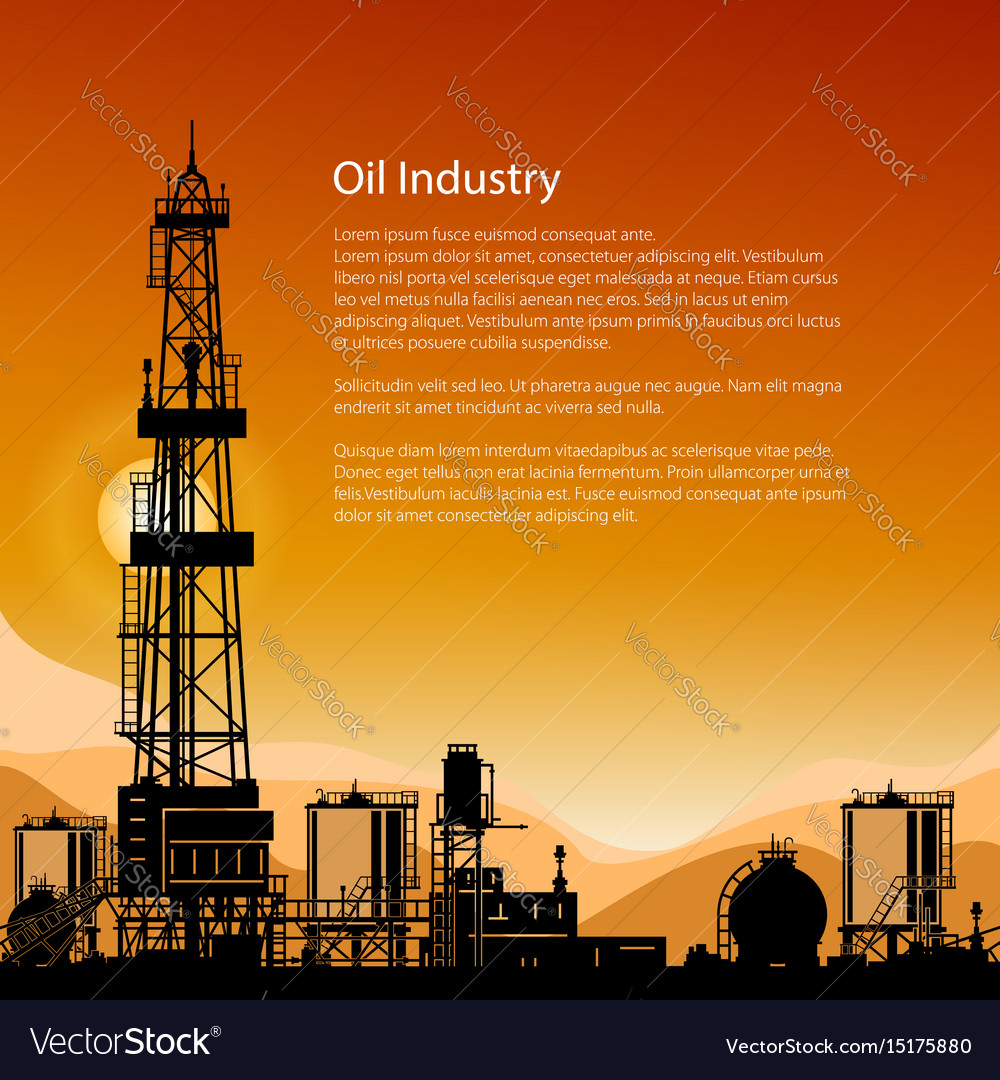 Silhouette drilling rigs and text