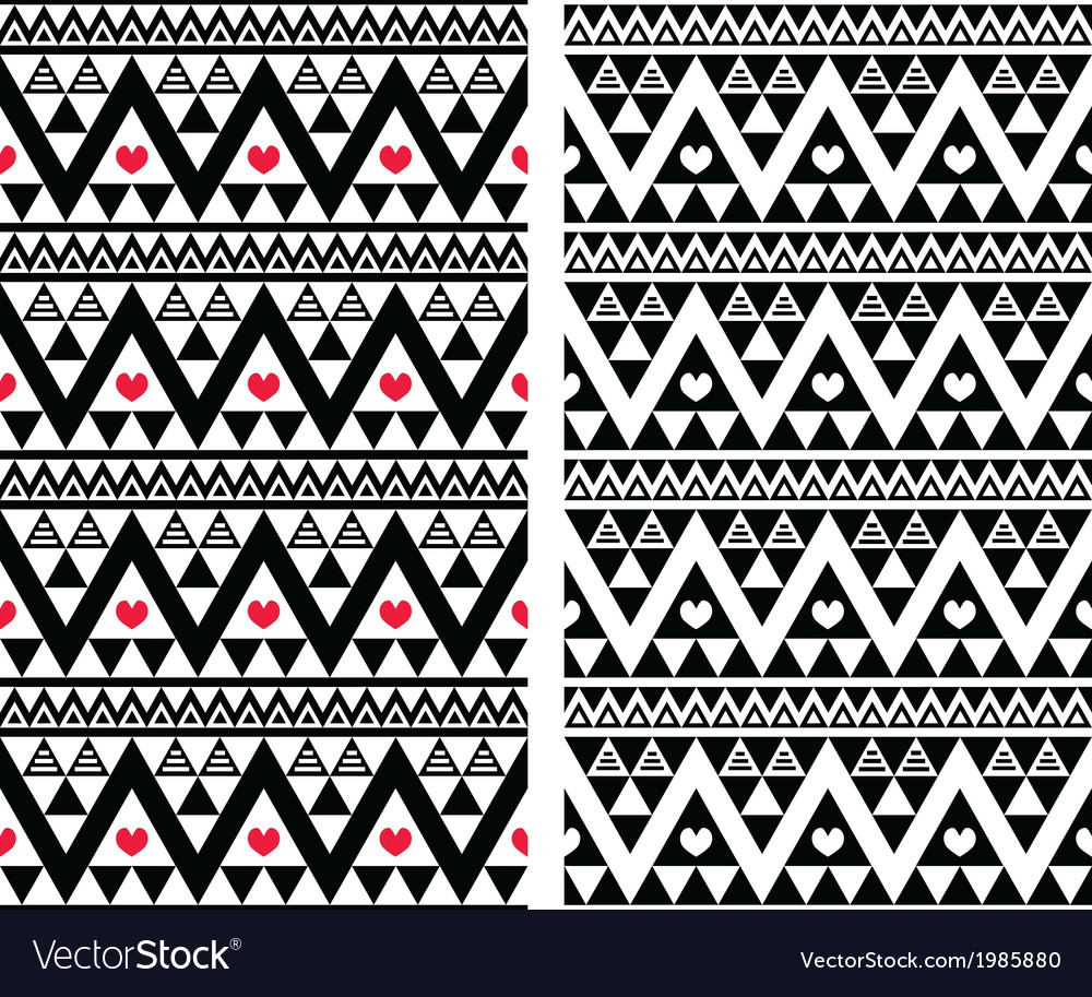 Tribal aztec colorful seamless pattern with heart