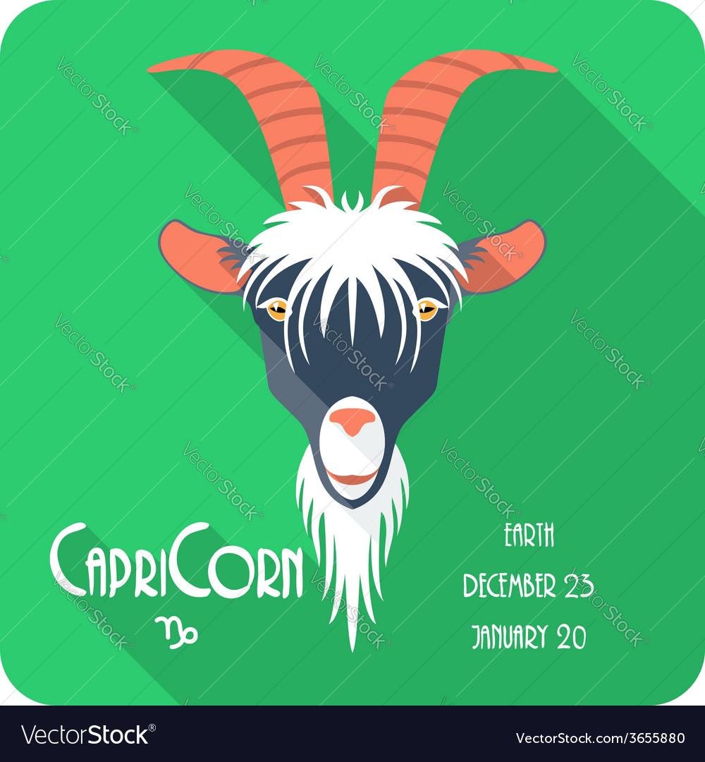 Zodiac sign Capricorn icon flat design