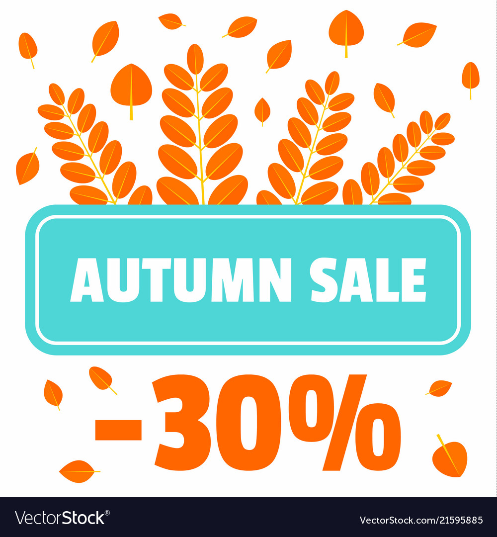 Autumn sale offer leaves background flat style