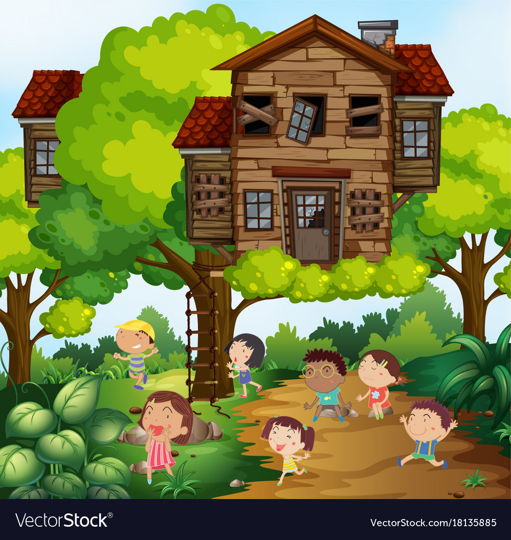 Picture of: Children And Treehouse In The Park Royalty Free Vector Image
