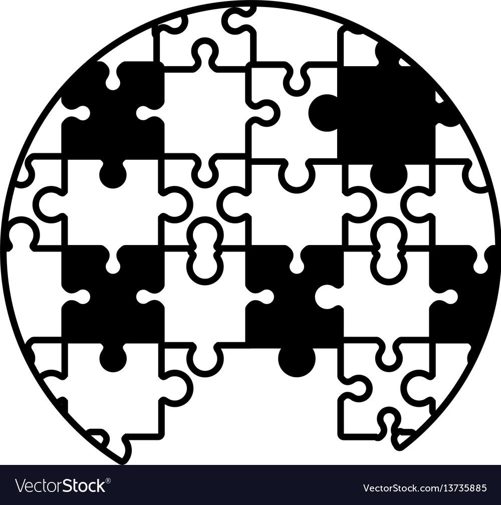 Circle puzzle solution monochrome