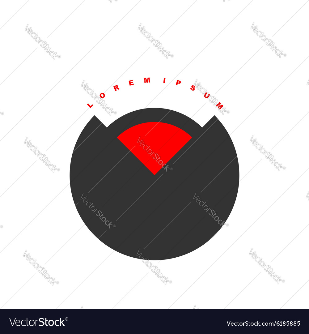 Circular logo with red segment Stylized black vector image