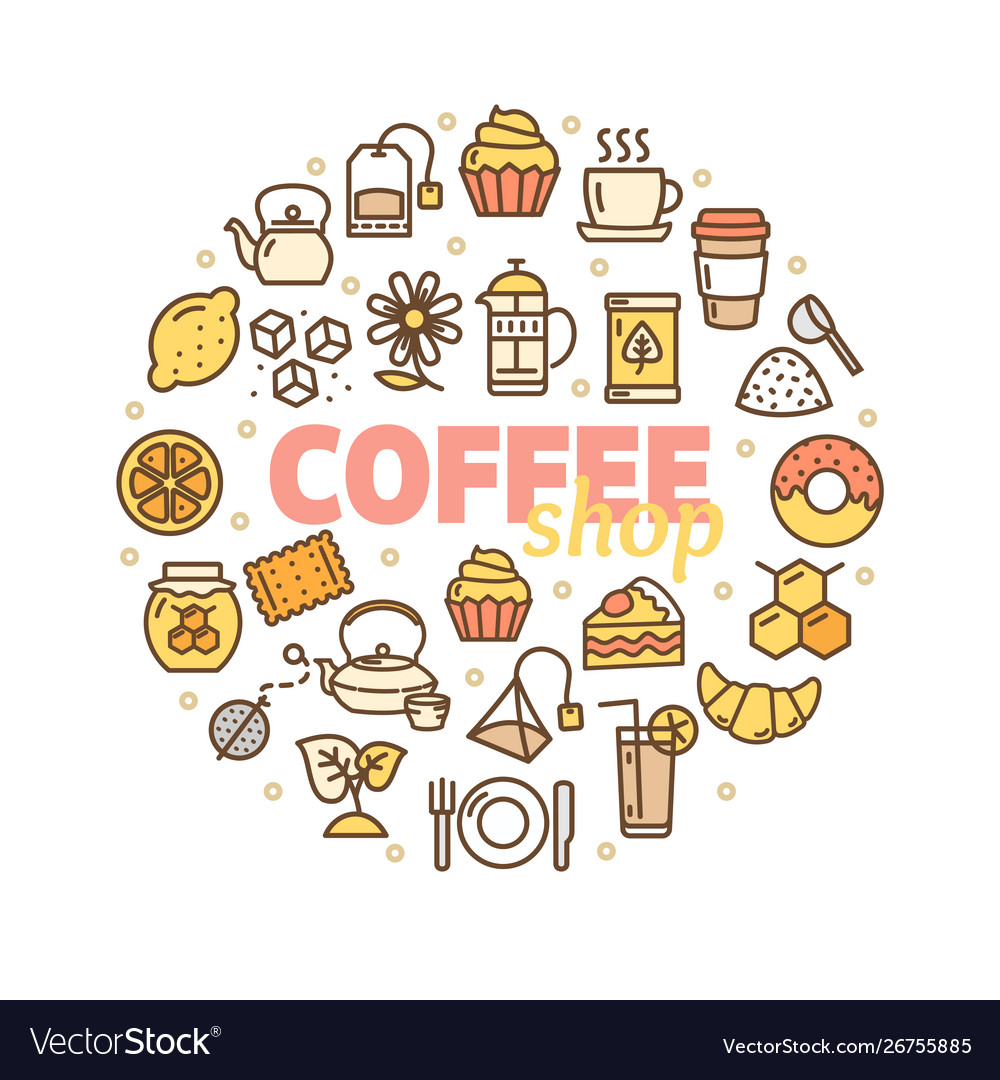 Coffee shop banner round design template thin line vector