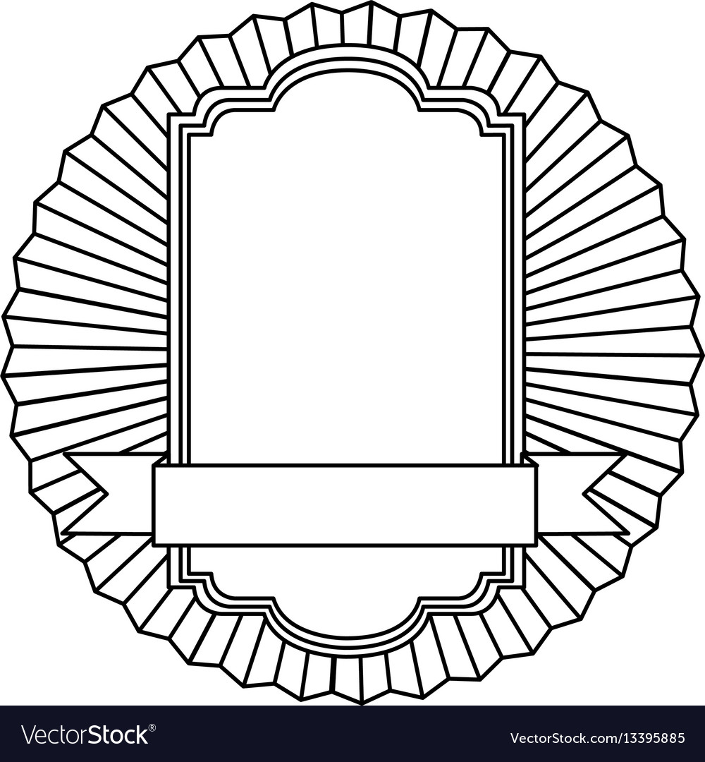 Figure emblem squard border with ribbon icon