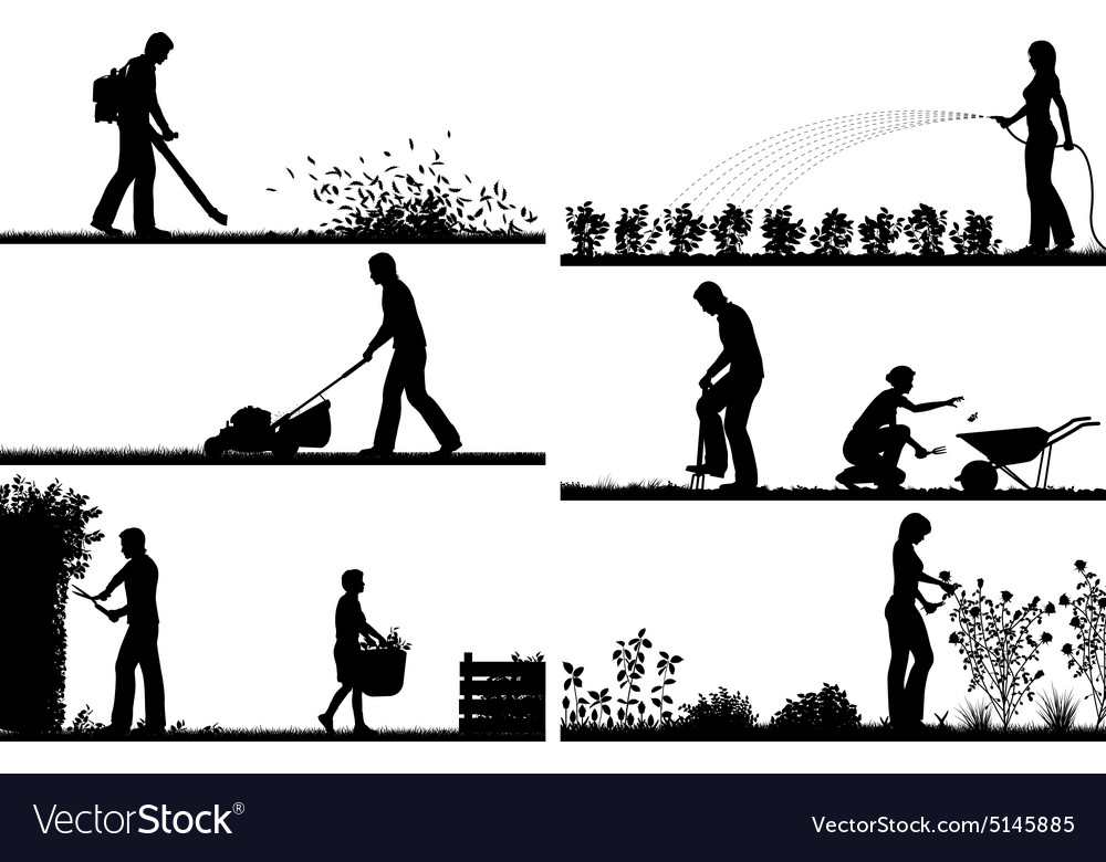 Gardening foreground silhouettes vector image