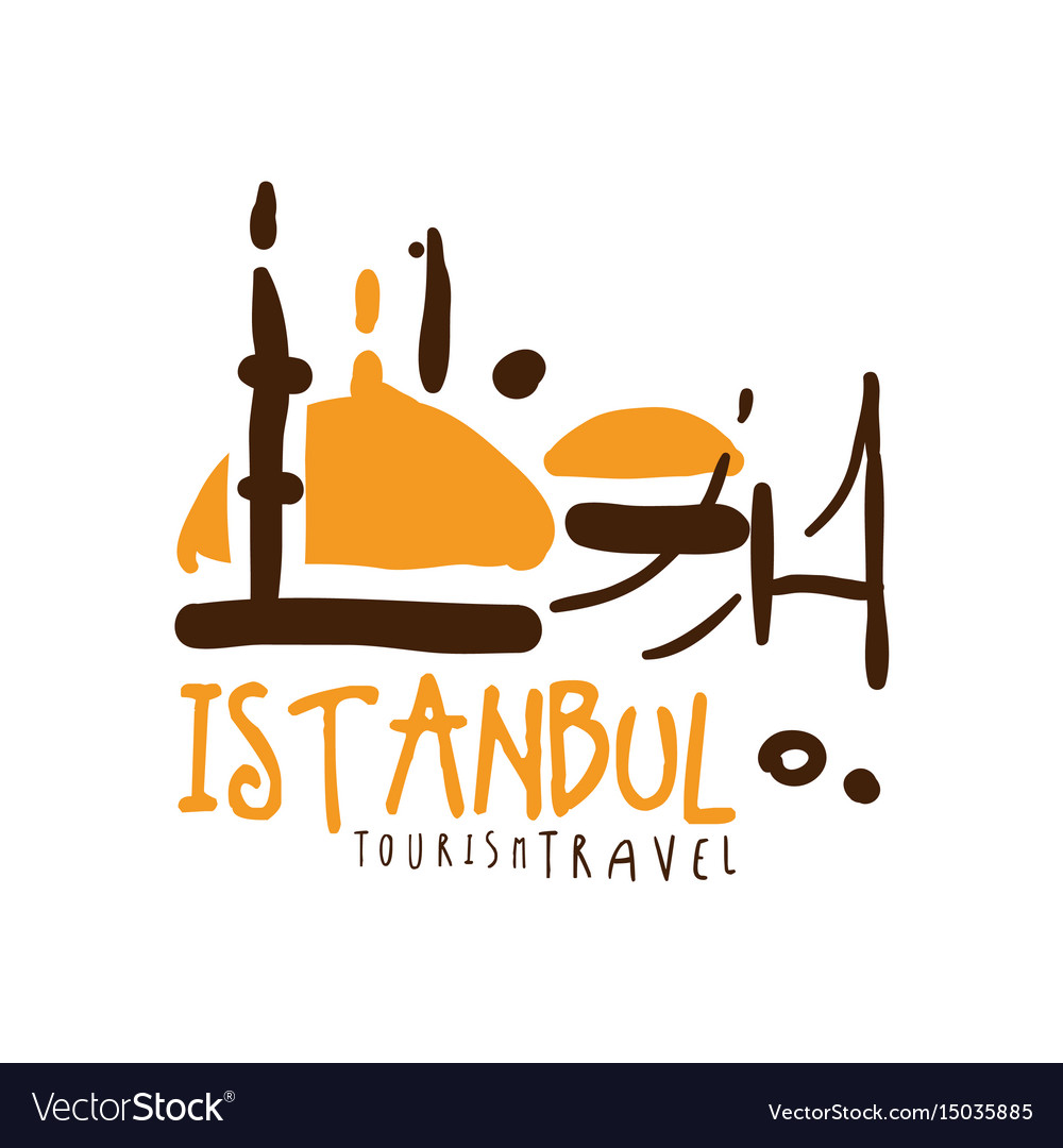 Istanbul travel logo template hand drawn vector image